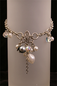 silver glass pearl bracelet