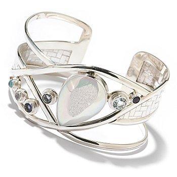 silver gemstone cuff bracelet