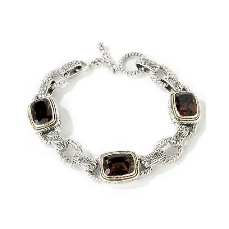 silver and gemstone link bracelet