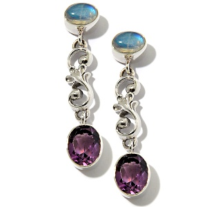 gemstone and silver earrings