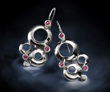 silver and gemstone earrings