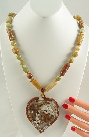 jade beads and pendant necklace