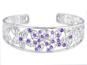 silver and amethyst cuff bracelet