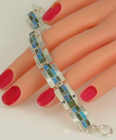 sterling silver and opal bracelet