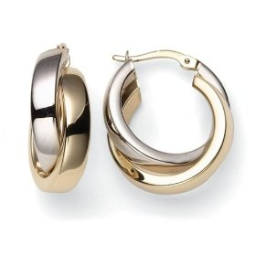 yellow and white gold hoops