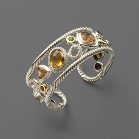 gold and gemstone cuff bracelet