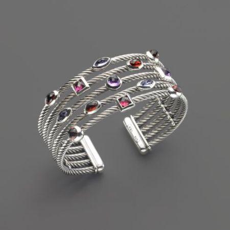 silver and gemstone bracelet