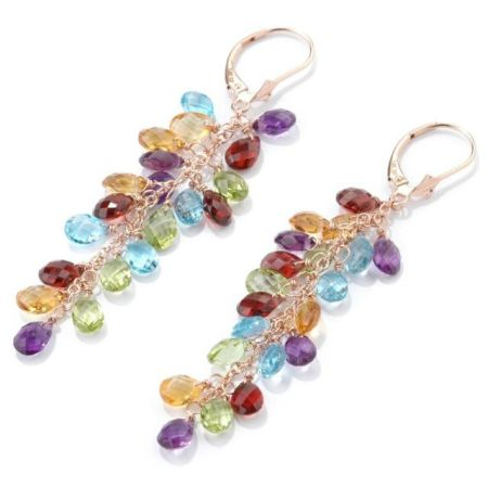 gold plated and earrings gemstone com genuine dp sterling silver yellow accent diamond multi amazon hoop