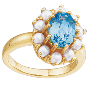 pearl and gemstone ring