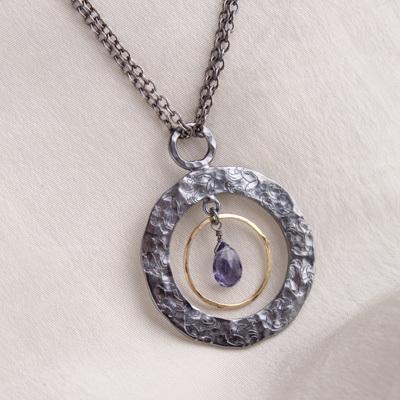 oxidized silver gemstone pendant