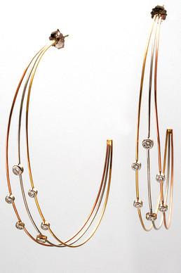 tricolor gold earrings