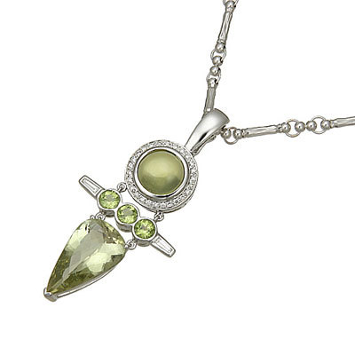 white gold Prehnite necklace