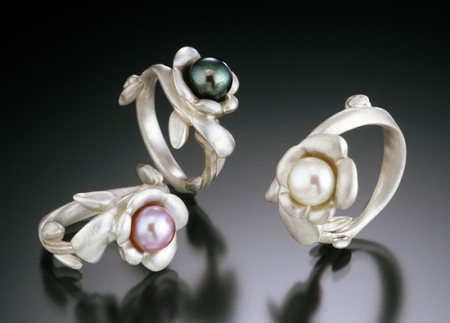 sculpted silver and pearl rings