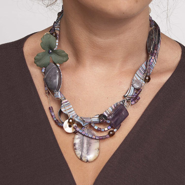 fabric and gemstone necklace