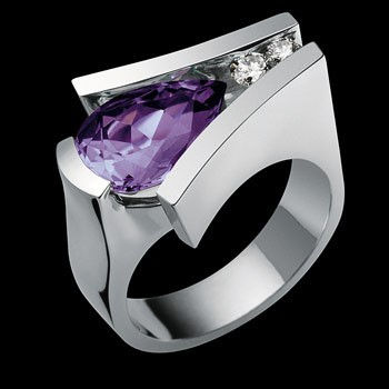 white gold and gemstone ring