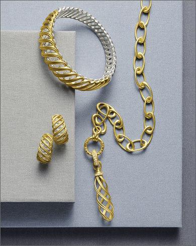 gold bracelet and earrings
