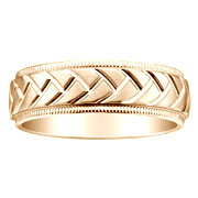 yellow gold textured wedding band