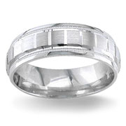 textured white gold band ring