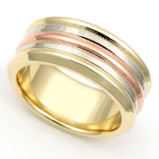 tri-color gold band rings
